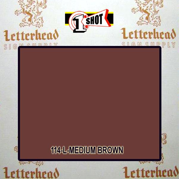 1 Shot Lettering Enamel Paint Medium Brown 114L - 1/2 Pint
