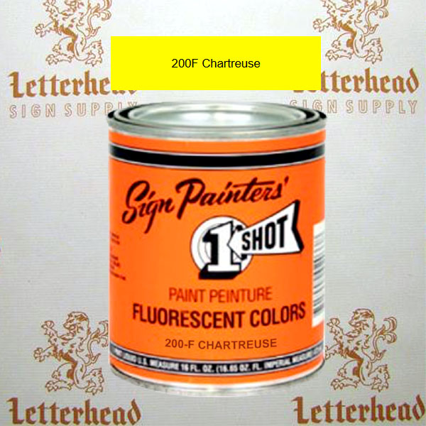1 Shot Lettering Enamel Paint Chartreuse 200F - Quart