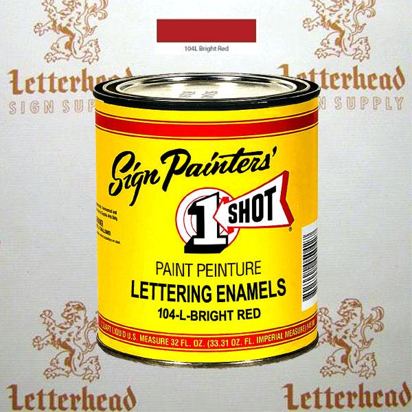 1 Shot Lettering Enamel Paint Bright Red 104L - Quart