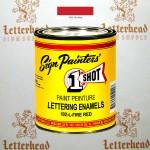1 Shot Lettering Enamel Paint Fire Red 102L - Quart